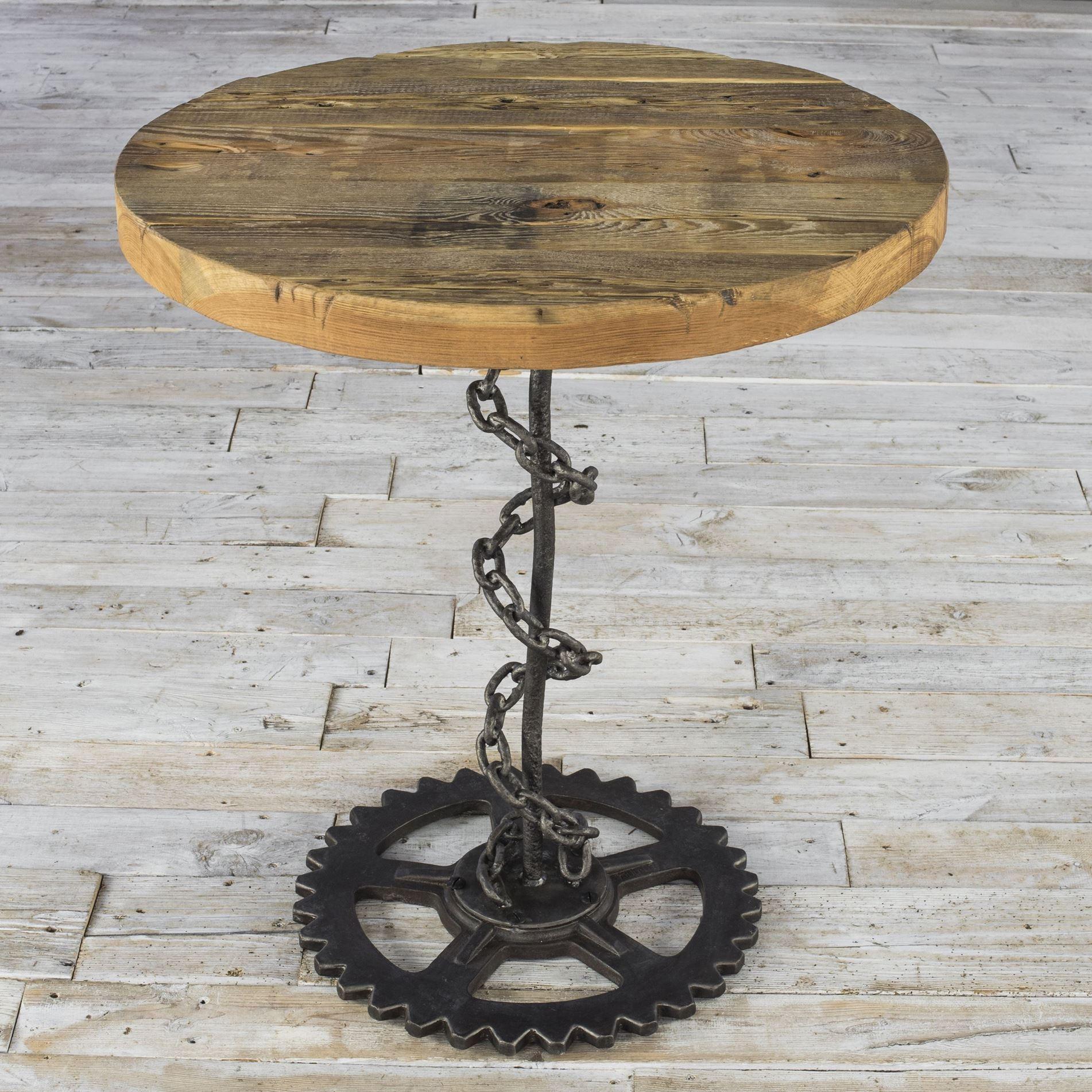 Okrągły stolik z łańcucha - stare drewno