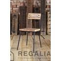Krzesło ze starego drewna i konstrukcji z lat 70-tych